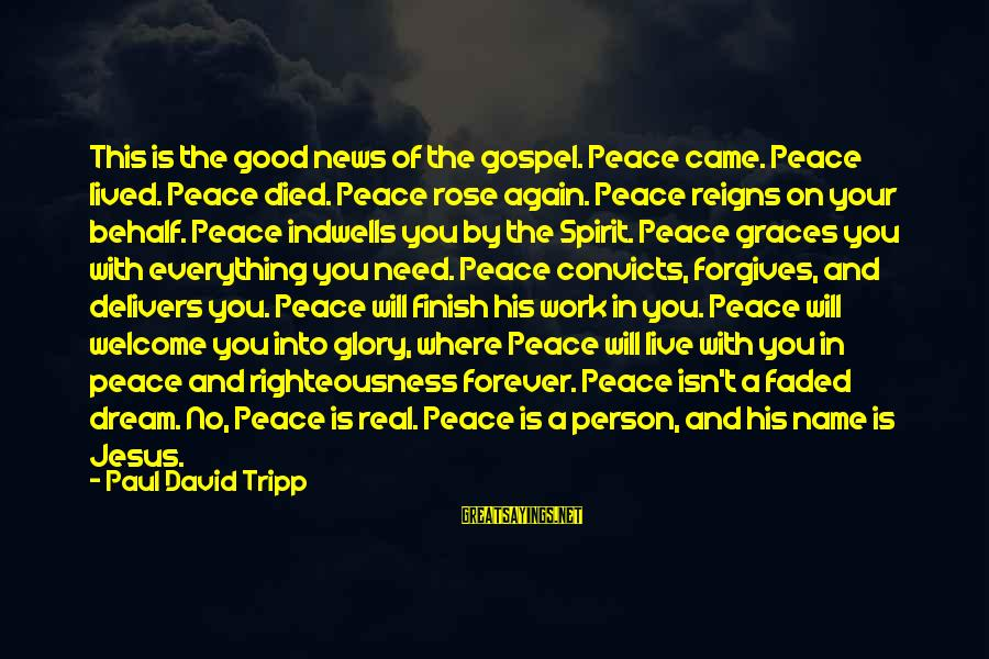 You Need Jesus Sayings By Paul David Tripp: This is the good news of the gospel. Peace came. Peace lived. Peace died. Peace