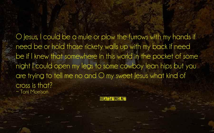 You Need Jesus Sayings By Toni Morrison: O Jesus, I could be a mule or plow the furrows with my hands if