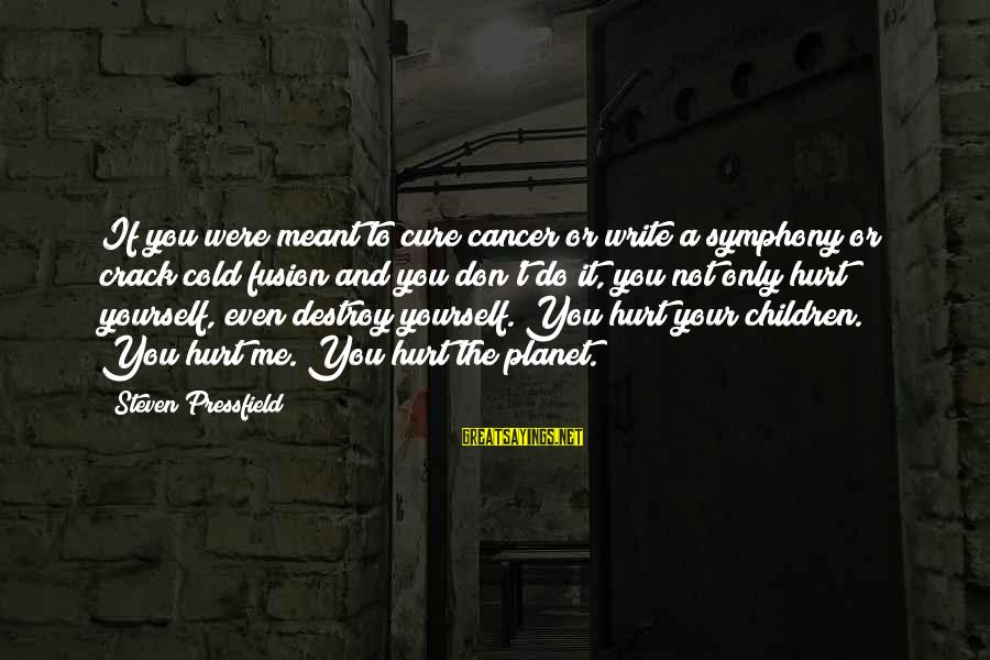 You Only Hurt Yourself Sayings By Steven Pressfield: If you were meant to cure cancer or write a symphony or crack cold fusion