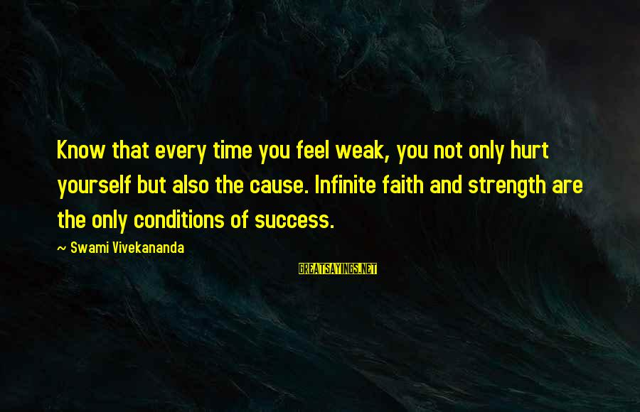 You Only Hurt Yourself Sayings By Swami Vivekananda: Know that every time you feel weak, you not only hurt yourself but also the