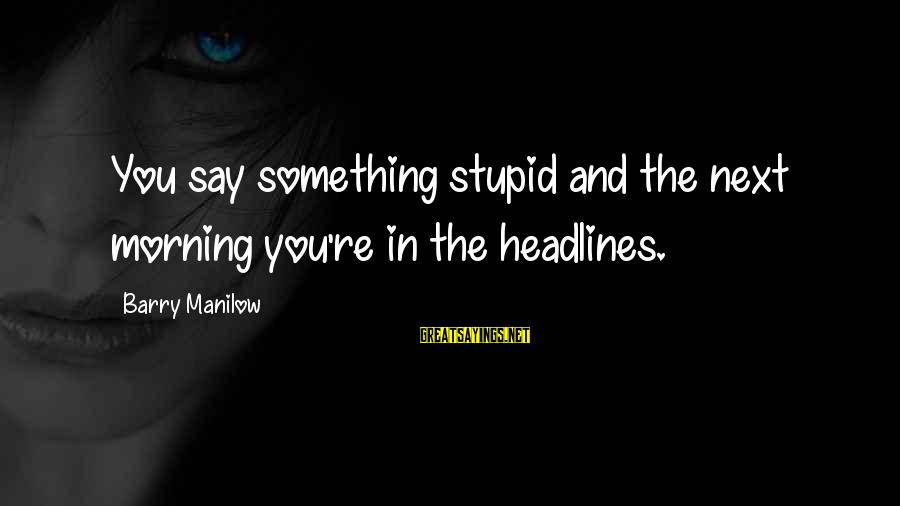 You Re Next Sayings By Barry Manilow: You say something stupid and the next morning you're in the headlines.