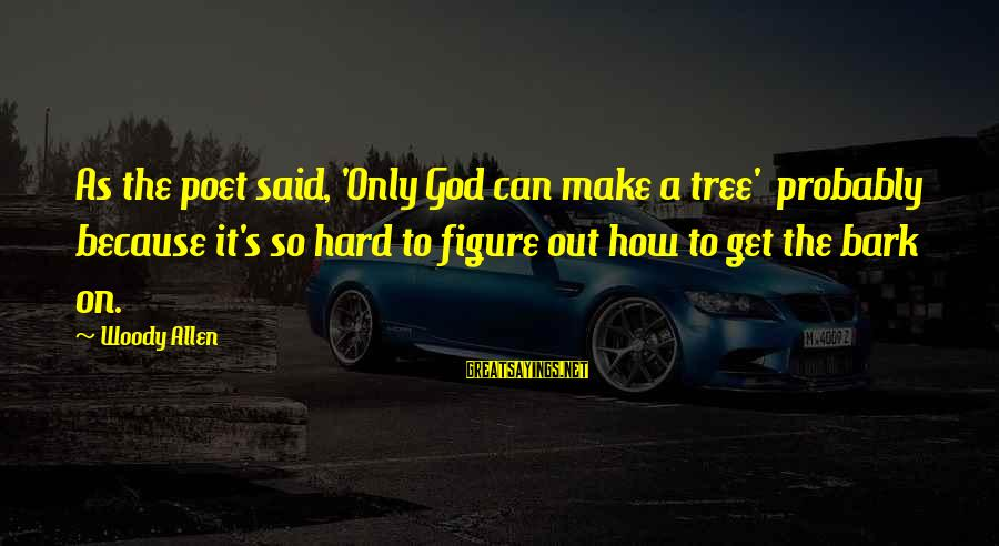 You Say Hurtful Things Sayings By Woody Allen: As the poet said, 'Only God can make a tree' probably because it's so hard