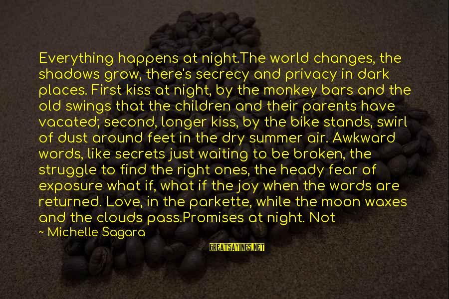 Young Ones Sayings By Michelle Sagara: Everything happens at night.The world changes, the shadows grow, there's secrecy and privacy in dark