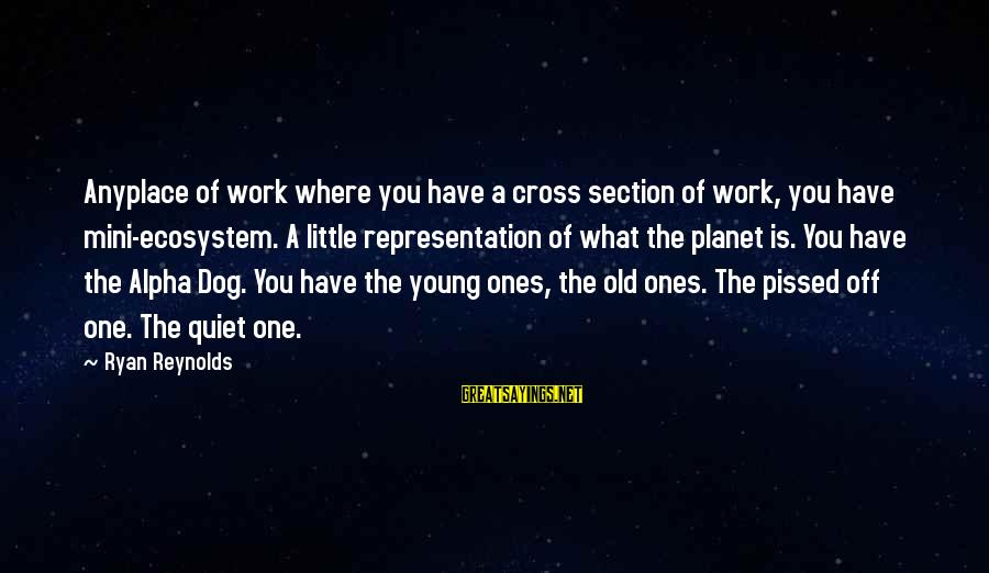 Young Ones Sayings By Ryan Reynolds: Anyplace of work where you have a cross section of work, you have mini-ecosystem. A