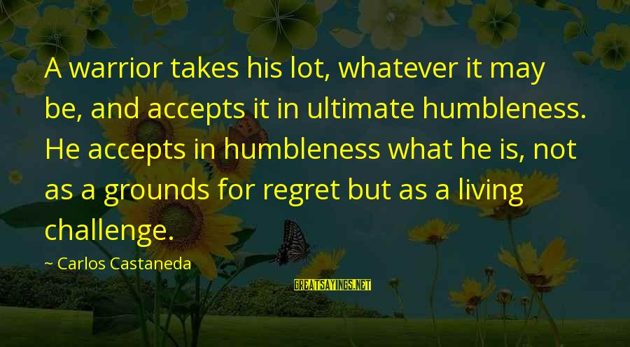Your Humbleness Sayings By Carlos Castaneda: A warrior takes his lot, whatever it may be, and accepts it in ultimate humbleness.
