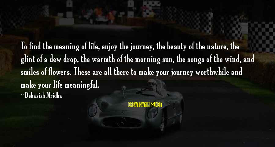 Your Life Journey Sayings By Debasish Mridha: To find the meaning of life, enjoy the journey, the beauty of the nature, the