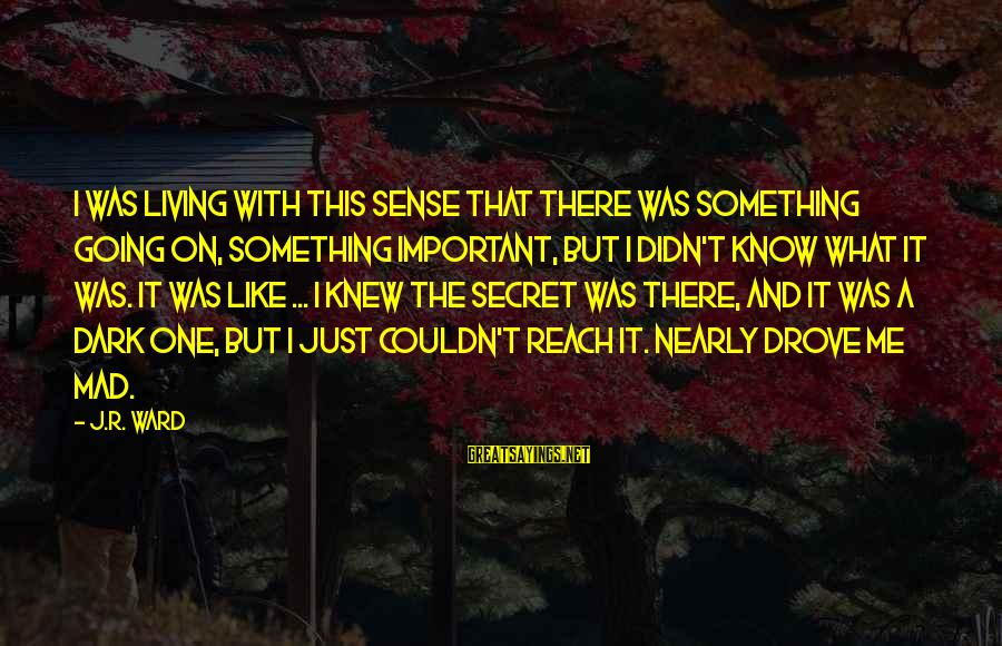 Your Secret Lover Sayings By J.R. Ward: I was living with this sense that there was something going on, something important, but