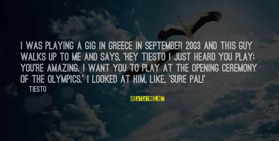You're Amazing Sayings By Tiesto: I was playing a gig in Greece in September 2003 and this guy walks up