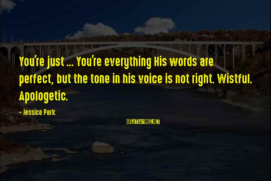 You're Not Perfect Sayings By Jessica Park: You're just ... You're everything His words are perfect, but the tone in his voice