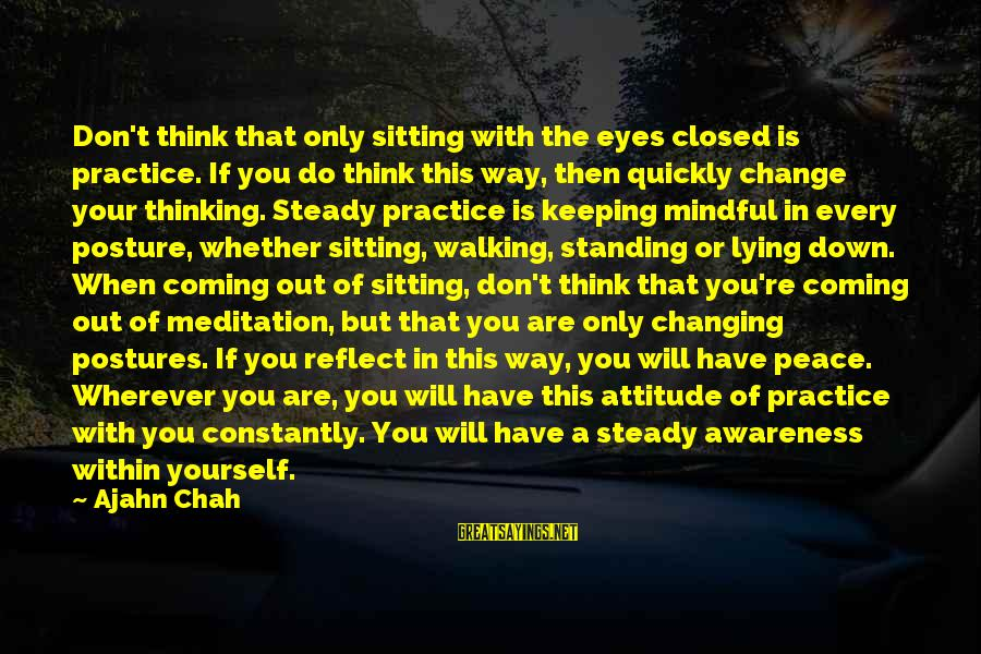 Yourself Attitude Sayings By Ajahn Chah: Don't think that only sitting with the eyes closed is practice. If you do think