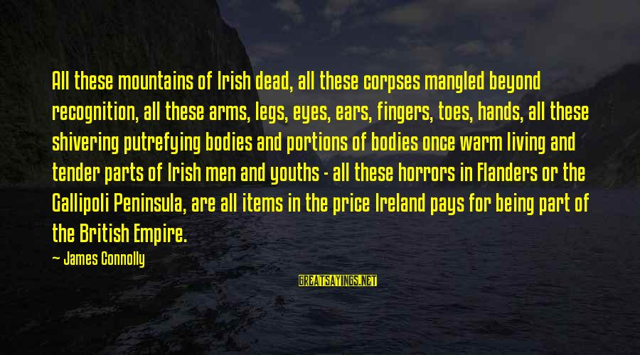 Youths Sayings By James Connolly: All these mountains of Irish dead, all these corpses mangled beyond recognition, all these arms,