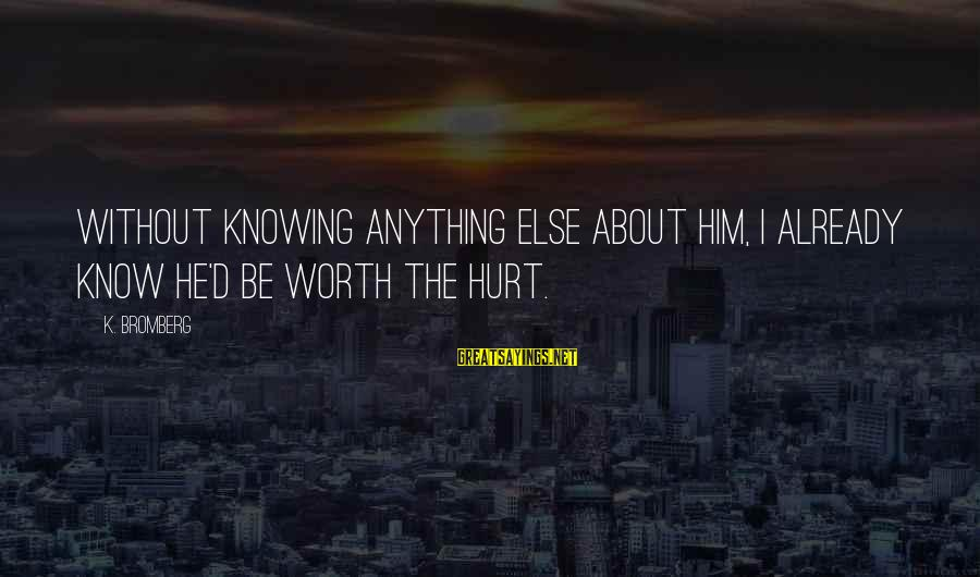 Zander's Sayings By K. Bromberg: Without knowing anything else about him, i already know he'd be worth the hurt.