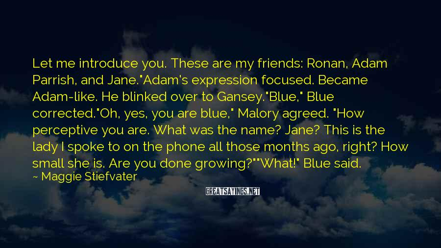 """Maggie Stiefvater Sayings: Let Me Introduce You. These Are My Friends: Ronan, Adam Parrish, And Jane.""""Adam's Expression Focused. Became Adam-like. He Blinked Over To Gansey.""""Blue,"""" Blue Corrected.""""Oh, Yes, You Are Blue,"""" Malory Agreed. """"How Perceptive You Are. What Was The Name? Jane? This Is The Lady I Spoke To On The Phone All Those Months Ago, Right? How Small She Is. Are You Done Growing?""""""""What!"""" Blue Said."""