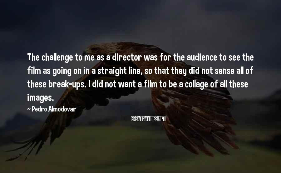 Pedro Almodovar Sayings: The Challenge To Me As A Director Was For The Audience To See The Film As Going On In A Straight Line, So That They Did Not Sense All Of These Break-ups. I Did Not Want A Film To Be A Collage Of All These Images.