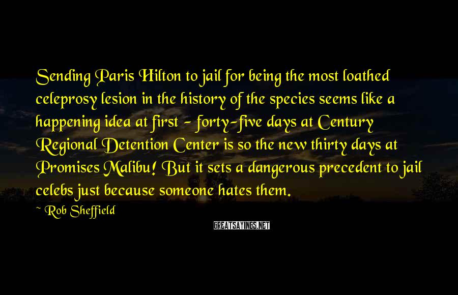 Rob Sheffield Sayings: Sending Paris Hilton To Jail For Being The Most Loathed Celeprosy Lesion In The History Of The Species Seems Like A Happening Idea At First - Forty-five Days At Century Regional Detention Center Is So The New Thirty Days At Promises Malibu! But It Sets A Dangerous Precedent To Jail Celebs Just Because Someone Hates Them.