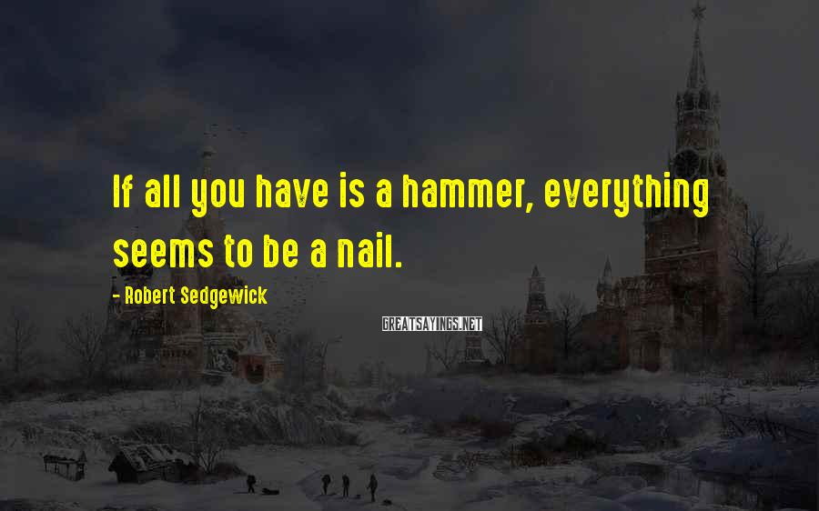 Robert Sedgewick Sayings: If All You Have Is A Hammer, Everything Seems To Be A Nail.