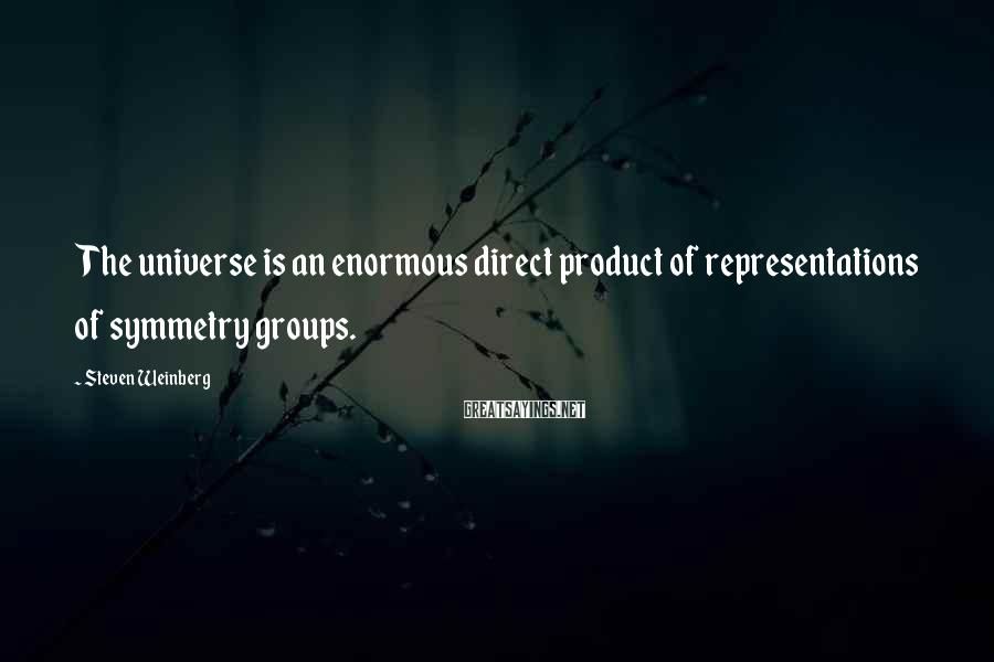 Steven Weinberg Sayings: The Universe Is An Enormous Direct Product Of Representations Of Symmetry Groups.