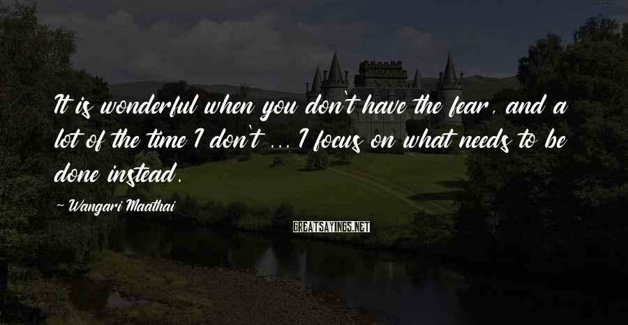 Wangari Maathai Sayings: It Is Wonderful When You Don't Have The Fear, And A Lot Of The Time I Don't ... I Focus On What Needs To Be Done Instead.