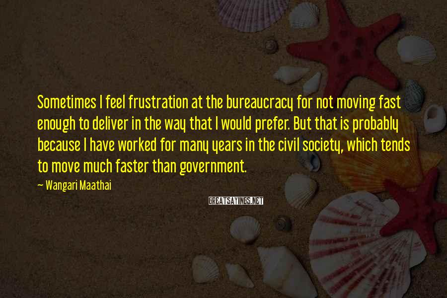 Wangari Maathai Sayings: Sometimes I Feel Frustration At The Bureaucracy For Not Moving Fast Enough To Deliver In The Way That I Would Prefer. But That Is Probably Because I Have Worked For Many Years In The Civil Society, Which Tends To Move Much Faster Than Government.
