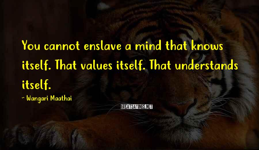 Wangari Maathai Sayings: You Cannot Enslave A Mind That Knows Itself. That Values Itself. That Understands Itself.
